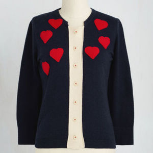 Adorable Modcloth Heart Cardigan